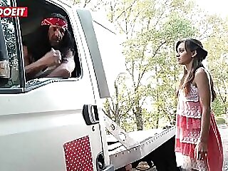 Hot Brunette Teen gets Tricked and Fucked Hardcore by Mechanic - LETSDOEIT.COM