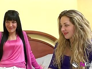 Her best friend films her first porn scene, but first they are going to give us their first lesbian action