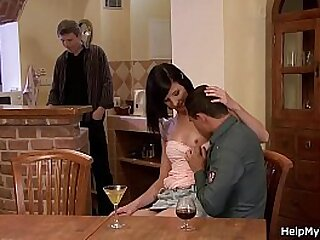 His brunette wife riding another cock