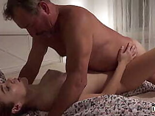 Teen moaning during orgasm when fucked by grandpa