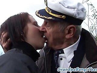 Busty eurobabe bangs grandpa