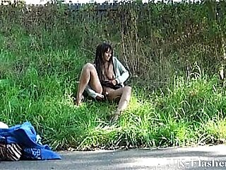 Outdoors ebony masturbation and young black babes dildo toying in public