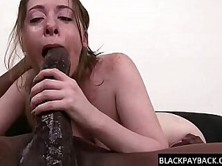 Sexy petite slut with a very tight throat has a huge black cock