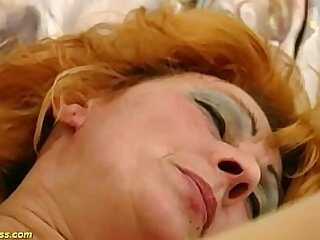 horny redhead hairy bush german mature gets extreme rough fucked by her young toyboy