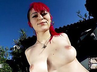 Sensational striptease of slut little redhead Nerea Falco showing her body at the pool and shows her whole naked body