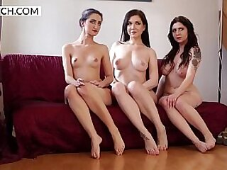 Three czech girls dancing and showing pussies around the pole