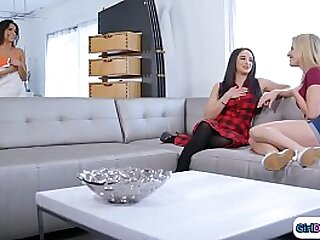Cougar couple get a bit horny when watching their teen neighbor dry herself off.On the couch they talk about lesbian experiences and the teen tells them that shes the best kisser and shes willing to prove it.They kiss and lick and make her squirt