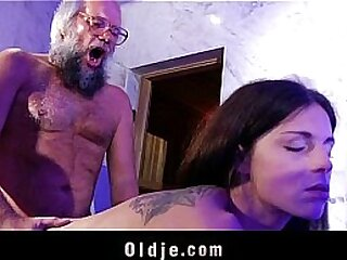 Young horny therapist hard fucking beard old man into the bathroom
