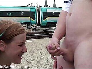 A hot teen girl Alexis Crystal public sex gang bang threesome at a train station