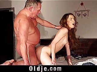 Horny cute school girl closeup cum swallow after fucking old guy