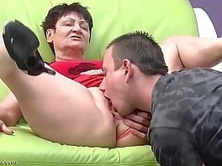 horny 82 years old granny gets rough doggystyle fucked by her young strong cock toyboy