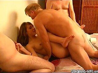 Teen amateur slut gangbanged by older guys